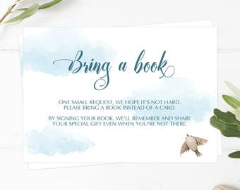Bring a Book Baby Shower Insert Books, Up Up and Away Baby Shower Theme, Book Request Instant Download, Blue Cloud Baby Shower Games PDF UA1