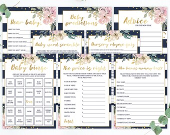 Floral Baby Shower Games Package, Classy Baby Shower, Faux Gold Foil, Pink and Navy Baby Shower, Baby Party Games, Baby Bingo Cards PDF GF1