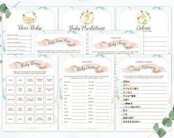 Bunny Baby Shower Game Bundle Printable Baby Party Games Baby Shower Forest Animal Baby Shower Decor Dear Baby Predictions and Advice LB2