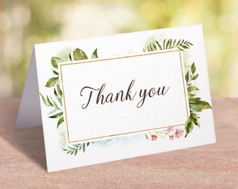 Greenery Thank You Card Printable Watercolor Greeting Cards Baby Shower Thank You Notes Instant Download Green Leaves Flower Tented Card LB2