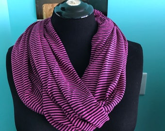 Pink and black striped scarf