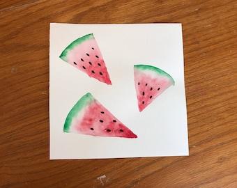 Handmade Watercolor Watermelon Summer Painting