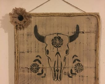 Rustic Wood Sign with Painted Skull