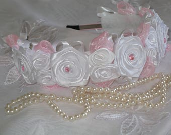 Crown Adult headband,Teen girl headband,Baby Headbands,Hair Accessory,Flower headband white Roses,First Communion,Bridal Flower,roses.