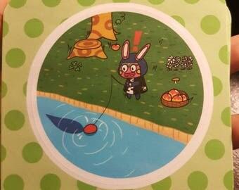 Animal Crossing Sticker - Snake Gets A Bite!