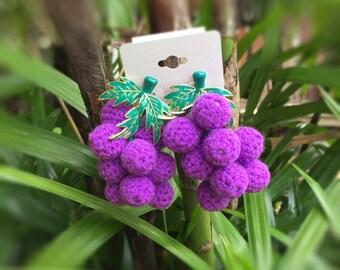 Tanya grape earring,fruit earring,crochet earring,handmade earring