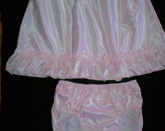 ABDL Adult Baby Sissy PINK SATIN Dress & Panties Set Crossdresser Anime Cosplay