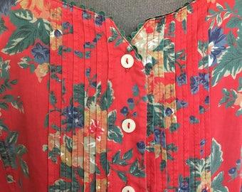 25% off sale / Boho festival grunge button-down '90s cotton summer dress by St Michael / plus size / smock dress