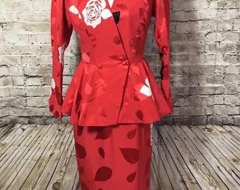 SAINT ROMEI Lillie Rubin Skirt Suit Sz 8 Red Floral SILK Peplum Asian 80s Vtg