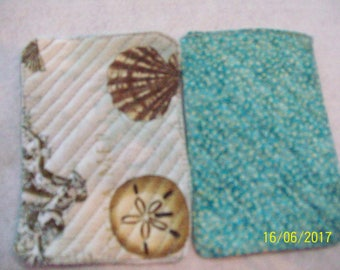 Quilted Seashell/Seahorse Mug Rugs