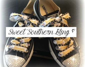 Pittsburgh Steelers Bling Converse Shoes