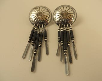 Southwestern Style, Vintage Native American Inspired, Sterling Silver and Black Dangle Earrings. Excellent Condition,