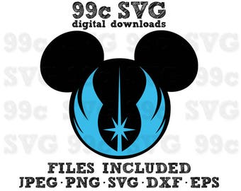 Star Wars Mickey Jedi Order SVG DXF Png Vector Cut File Cricut Design Silhouette Cameo Vinyl Decal Party Stencil Heat Transfer Iron