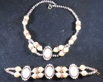 Necklace & Bracelet set - Copper and Cream