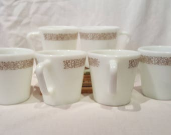 Vintage Pyrex Coffee Cups Woodland Brown set of 6