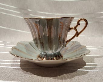 Vintage Shafford Hexagonal Teacup and Saucer Opalescent Pale Mint Green White with Gold Details Porcelain Made in Japan