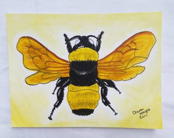 Bee Watercolor Painting