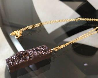 Smoky Quartz Pendant Necklace - 14K Gold Chain