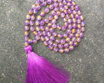 108+1 Hand knotted Kunzite Mala necklace