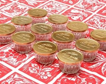 Box Of 12 Vintage Jelly Jars Squat Pintsw/ Metal Lids New Old Stock