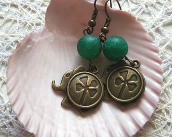 Boho bronze elephant green agate earrings rare charm  good luck 4-leaf clover woman birthday gem good luck chakra gift for mom from daughter