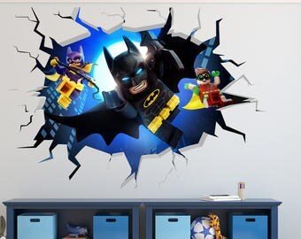 Lego Batman Smashed Wall Decal 3D Kids Sticker Art Decor Vinyl Character Door