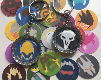 Overwatch bottle cap keychain