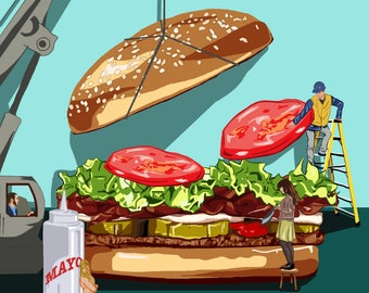 Burger Construction Illustration