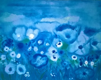 blue meadow painting