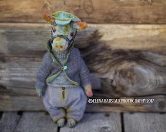 Village donkey, teddy bear, bears, teddy artist, vintage style, vintage plush,  textile art, soft sculpture, stuffed