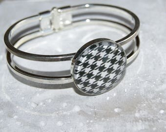 Bangle silver cabochon houndstooth