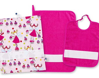 As02-Asylum Set: Bag, Towel, Bib-Nursery Set; Bag, Wipes, Bib