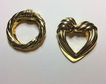 2 vintage gold colour heart shaped and wreath shaped money clips
