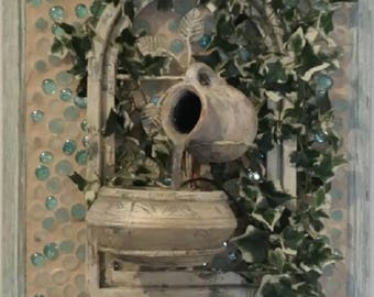 Unique Framed Country French Style Wall Hanging Water Fountain
