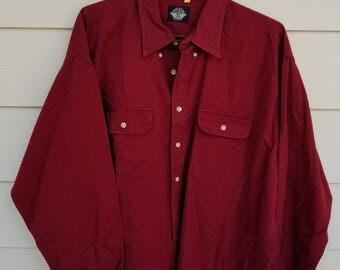 Dark Red Docker's Button Down Oxford Shirt