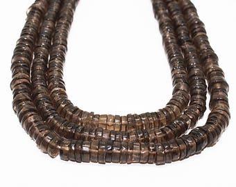 "Natural Smoky Quartz Gemstone Smooth Tyre Shape Beads,Length 16"" Strand,Beads Size 6-7 mm | Heishi Tyre Shape beads Natural Smoky Quartz"