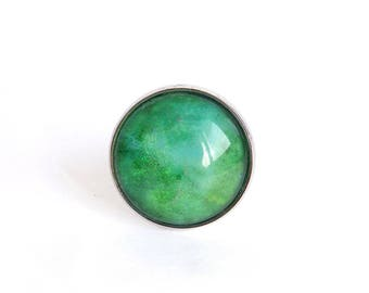"Silver ring ""Les watercolors"" green meadow and cobalt clear - glass Cabochon - Adjustable ring"