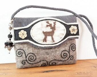 Felt bag deer shoulder bag Oktoberfest Oktoberfest Pocket wool felt felt handmade natural grey anthracite