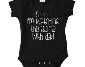 Shh Watching The Game With Dad Infant Baby Rib Cotton Bodysuit