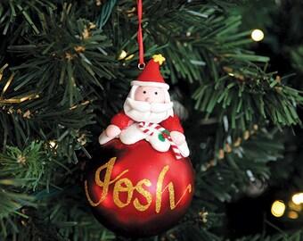 Santa Character Personalised Red Christmas Decoration