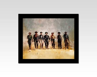 Magnificent Seven inspired watercolour effect print