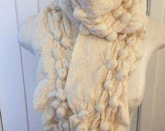 Cream wet felted snowball scarf