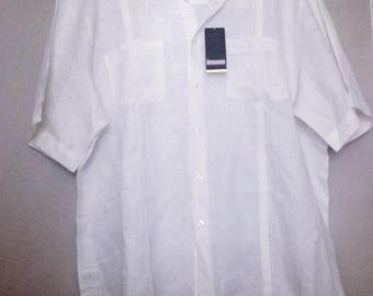 XL White Guayabera Shirt for men