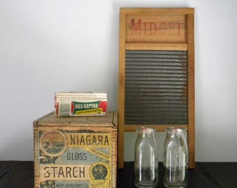 Vintage Lingerie Washboard Midget National Washboard Co. # 442 Chicago Memphis for Use in Kitchen Sink Tin White Wood