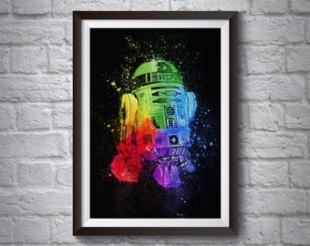 R2D2 Droid Abstract A3 A4 Poster - Star Wars Poster - Printed Movie Poster - Boys Room Decor - Star Wars Print