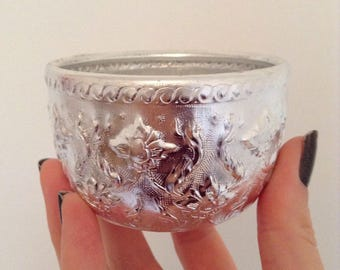 Hand-hammered silver bowl