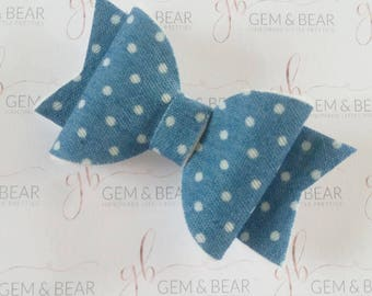 Handmade denim hair bow