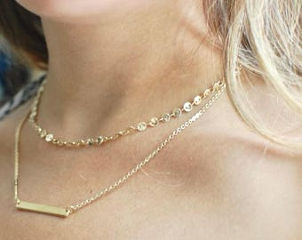 Gold Disc and Bar Layered Necklace // Delicate Gold Necklace // Bar Pendant // Disc Chain // Gifts for Her // Bridesmaid Gifts