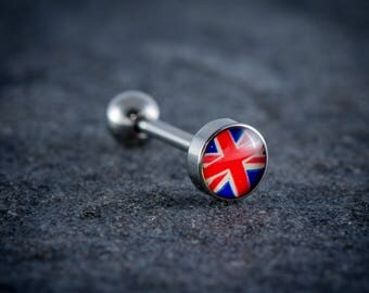 "1.6mm (14g) 316L Surgical Steel Logo Tongue Bar ""UNION JACK"""