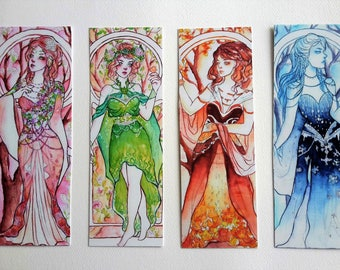 Art Noveau Four Seasons Bookmarks Doublesided